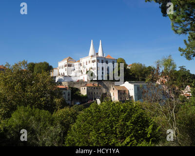 View of the National Palace with its conical towers, Sintra, near Lisbon, Portugal - Stock Photo