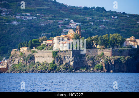 Lipari Town, Lipari Island, Aeolian Islands, UNESCO, Sicily, Italy, Mediterranean - Stock Photo