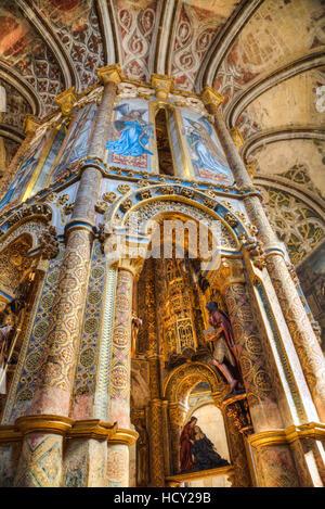 The Charola, Convent of Christ (Convento de Cristo), UNESCO, Tomar, Santarem District, Portugal - Stock Photo