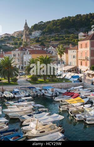 View of Hvar Harbour, Hvar Island, Dalmatia, Croatia - Stock Photo