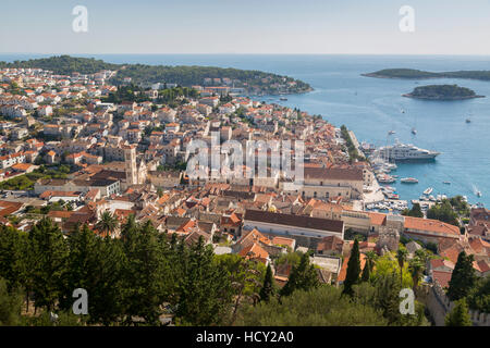 View over Hvar from Spanish Fortress, Hvar Island, Dalmatia, Croatia - Stock Photo
