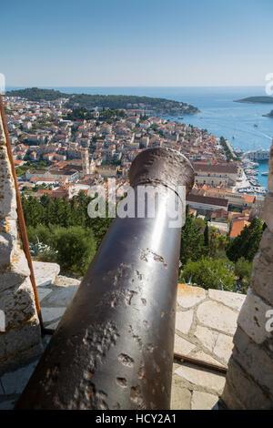 View over Hvar from Spanish Fortress, Hvar Island, Dalmatia, Croatia - Stock Photo