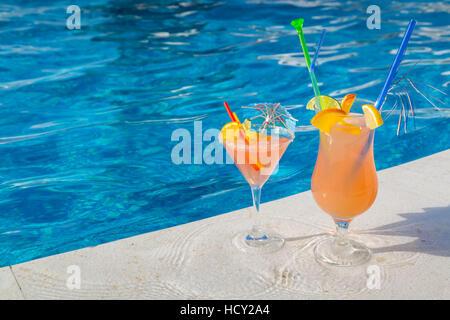 Cocktails by the pool, Korcula, Dalmatia, Croatia - Stock Photo