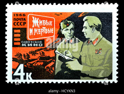 Soviet Union postage stamp (1966) : Soviet Cinema Art - Scene from 'Alive and Dead' (A. Stolper, 1965) - Stock Photo