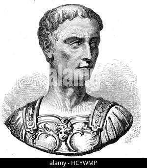 Gaius Julius Caesar, 100 BC - 44 BC, Julius Caesar, the story of the ancient Rome, roman Empire, Italy - Stock Photo