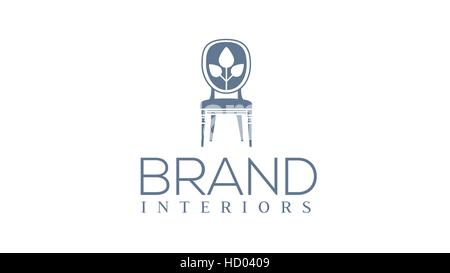 H letter vector furniture or chair logo design template. Interior ...