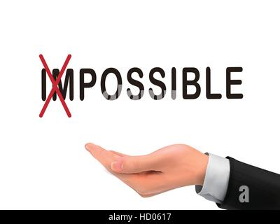 turning the word impossible into possible by realistic hand over white background - Stock Photo