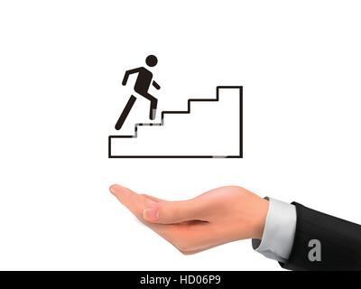 going up stairs holding by realistic hand over white background - Stock Photo