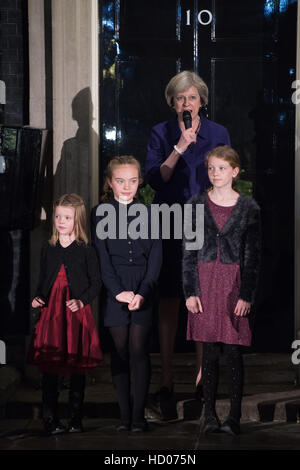 Downing Street Christmas Light Switch On by Theresa May - Stock Photo