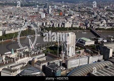 aerial view of The Shell Centre Redevelopment Project on London's South Bank, England, UK - Stock Photo