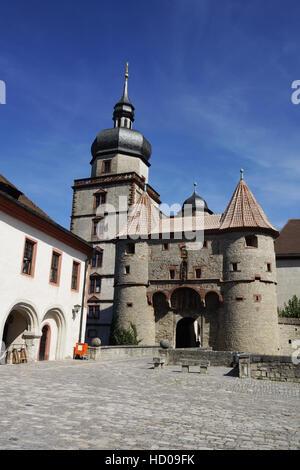 scherenbergtor and kiliansturm, marienberg fortress, würzburg, lower franconia, bavaria, germany - Stock Photo