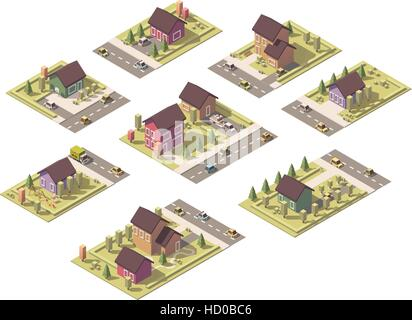Vector isometric low poly suburban buildings - Stock Photo