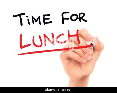 time for lunch words written by hand on a transparent board - Stock Photo