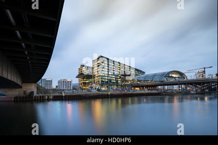 Exterior view of Hauptbahnhof main railway central at night in Berlin, Germany - Stock Photo
