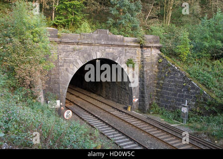 Derbyshire, UK - 24 Sept 2014: Western end of the Totley Tunnel on the Hope Valley Line at Grindleford gateway to - Stock Photo