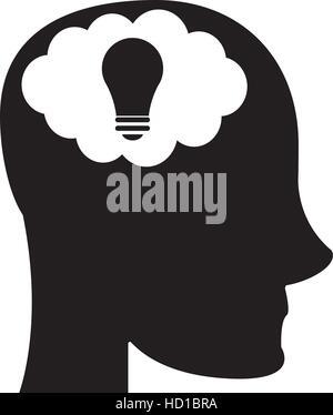 person head brain think silhouette - Stock Photo