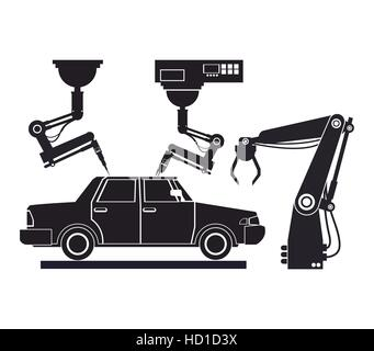silhouette car assembly industrial robotic production line - Stock Photo