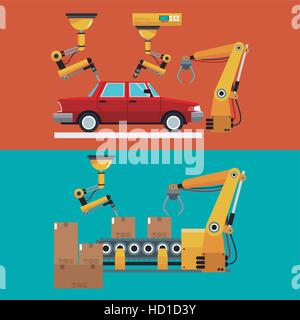 automated production line robotic factory banner - Stock Photo