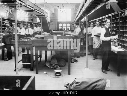 Men Boxing Mail at General Post Office, New York City, New York, USA, Bain News Service, 1914 - Stock Photo