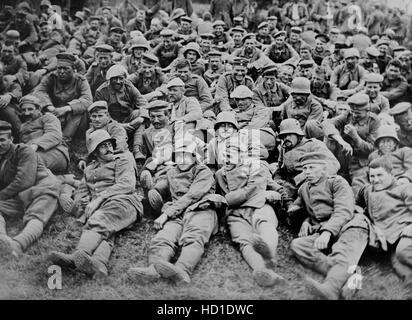 German Prisoners of War Captured by British Forces at Battle of Messines, West Flanders, Belgium, Bain News Service, - Stock Photo