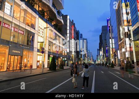 Ginza Shopping District, Tokyo, Japan - Stock Photo