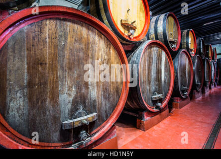 Old oak barrels at the vineyard cellar. - Stock Photo