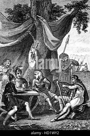 Alfred the Great (849 – 899AD ) was King of Wessex from 871 to 899. Just before the Battle of Ashdown that took - Stock Photo