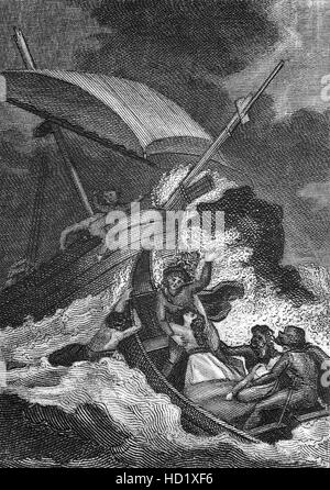 The shipwreck of the 'White Ship'  on the  25th November 1120 with William the Aethling, only son of Henry I on - Stock Photo