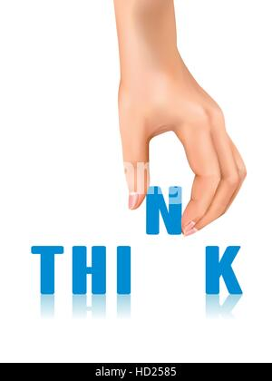 think word taken away by hand over white background - Stock Photo