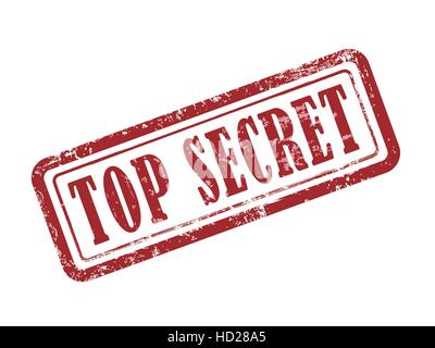 stamp top secret in red over white background - Stock Photo