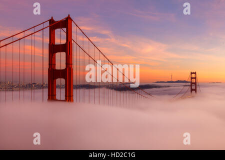 The Golden Gate Bridge During Sunset - Stock Photo