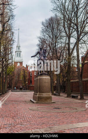 Boston, USA - April 28, 2015: Old North Church and Statue of Paul Revere in downtown Boston, Massachusetts, the - Stock Photo