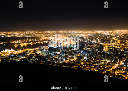 Cape Town city at night - Stock Photo
