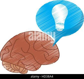 drawing brain thinking idea blue bubble - Stock Photo