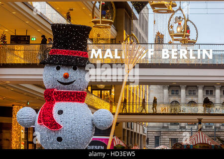 Berlin shopping, Christmas atmosphere at Mall of Berlin, Leipziger Platz, Berlin, Germany - Stock Photo