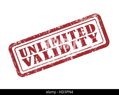 stamp unlimited validity in red over white background - Stock Photo