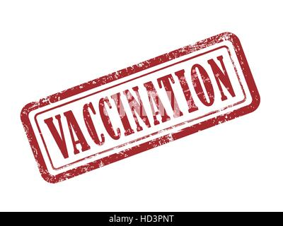 stamp vaccination in red over white background - Stock Photo