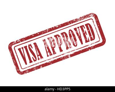 stamp visa approved in red over white background - Stock Photo