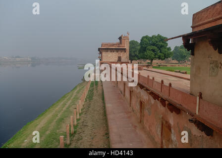 View of Yamuna river from Itmad-Ud-Daulah's tomb in Agra, Uttar Pradesh, India. Also known as the Jewel Box or the - Stock Photo