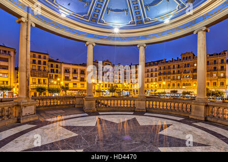 View from bandstand on Plaza del Castillo square in the evening, Pamplona, Navarre, Spain - Stock Photo