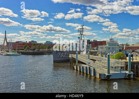 Boston, USA - April 28, 2015: USS Cassin Young Fletcher-class destroyer moored in Boston, USA. It is a National - Stock Photo