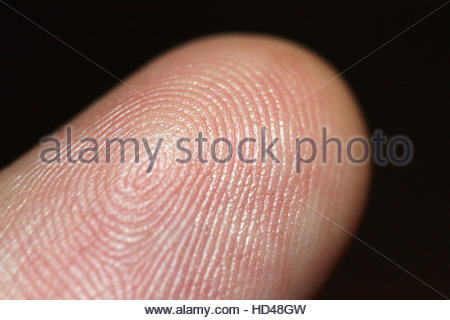 A man's fingerprint on his index finger. - Stock Photo