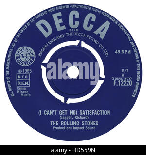 45 RPM 7' UK record label of (I Can't Get No) Satisfaction by The Rolling Stones on the Decca label from 1965 - Stock Photo
