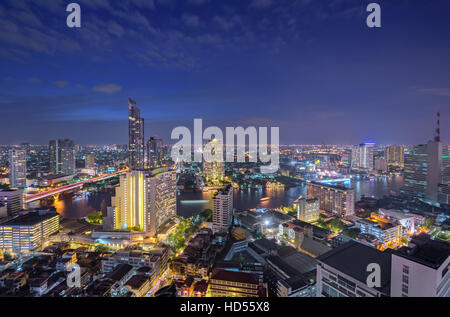 Beautiful night in Bangkok Thailand - Stock Photo