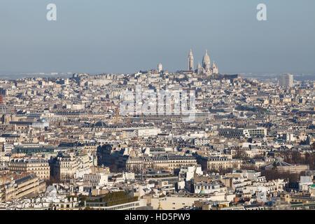 Paris panorama view from Eiffel Tower, Basilica Sacre Coeur - Stock Photo