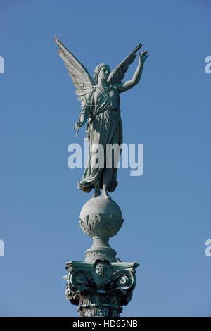 Memorial column for naval hero Ivar Huitfeldt, 1665-1710, Langelinie Park, Copenhagen, Denmark - Stock Photo