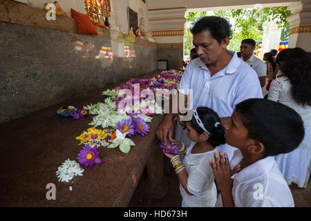 Devout Buddhists put offerings in prayer room, Jaya Sri Maha Bodhi, sacred fig tree, Sacred City of Anuradhapura - Stock Photo