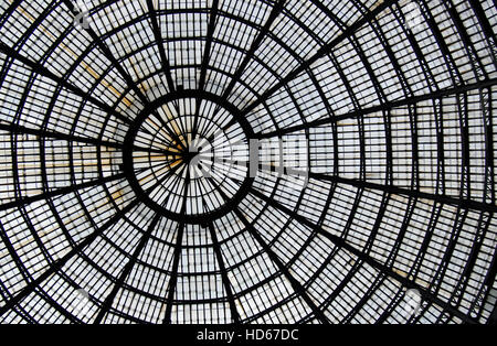 Detail of the glass-and-iron roof of the Galleria Umberto I in Naples, Italy, Europe - Stock Photo