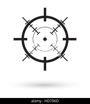 black crosshair icon vector - Stock Photo