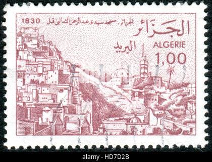 ALGERIA - CIRCA 1984: A stamp printed in Algeria, shows the Sidi Abderahman and Taalibi mosques, circa 1984 - Stock Photo